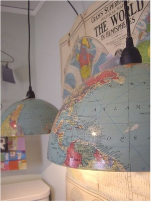 Pendant lights from old globes (more recycled globe ideas behind link) this