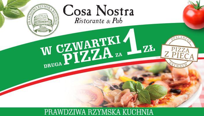 Startujemy z nowym cyklem promocji czwartkowych!:) Co tydzień przy zakupie jednej pizzy, drugą otrzymacie za symboliczną złotówkę. Cosa Nostra wie, jak dbać o swoich gości :)