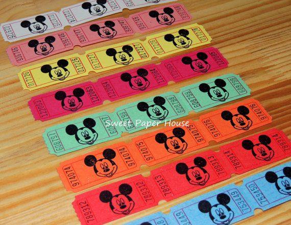 30 Mickey Mouse Carnival Tickets (Disney, Circus, Raffle, VIP, Hand Stamped, Mickey, Cartoons, Old, Disney Cruise, Disney Wedding, Baby) on Etsy, $5.99