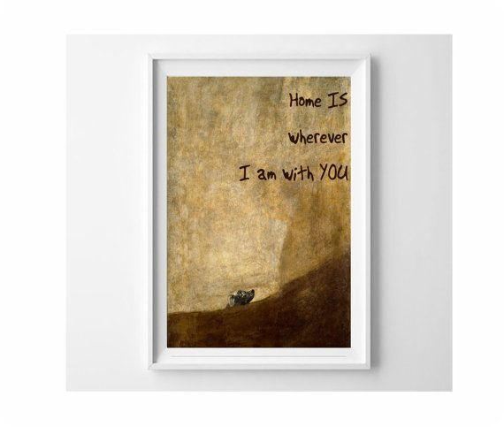 Home IS Wherever I am With YOU and The Dog by Goya, lovely 13x19 poster ideal valentine and love gifts by Frame(it) posters