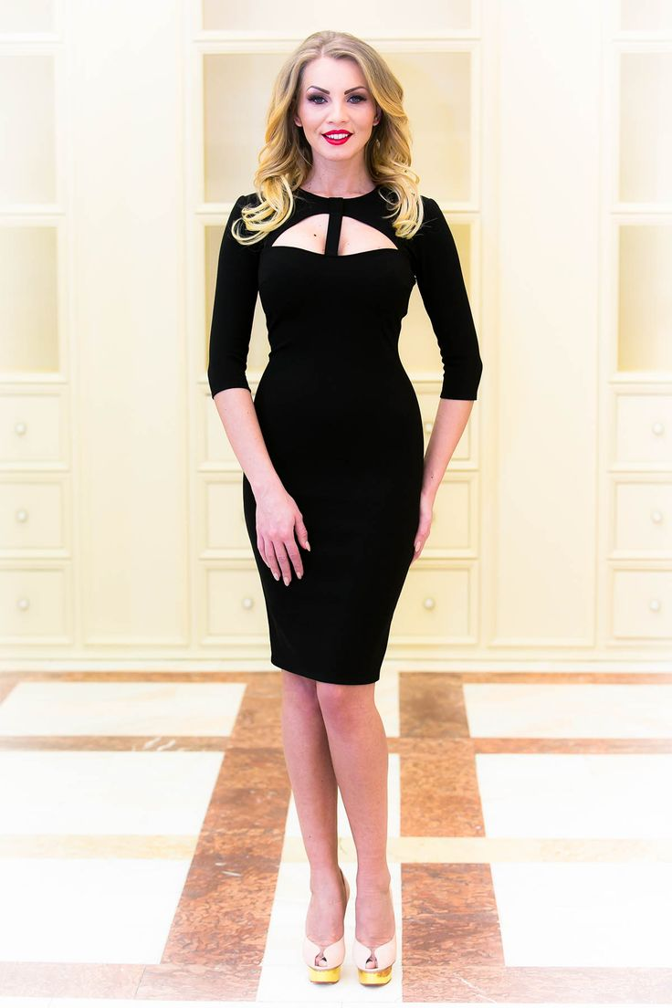 Midi little black dress with awesome cleavage