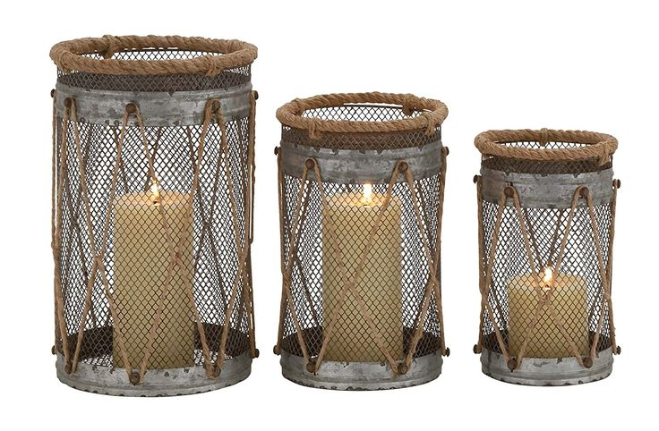 Amazon.com: Deco 79 Metal Rope Candle Holder, 11 by 9 by 8-Inch, Set of 3: Home & Kitchen