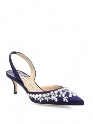 f9e9783b2cb MANOLO BLAHNIK Carolyne Crystal-Embellished Satin Slingback Pumps.   manoloblahnik  shoes  pumps