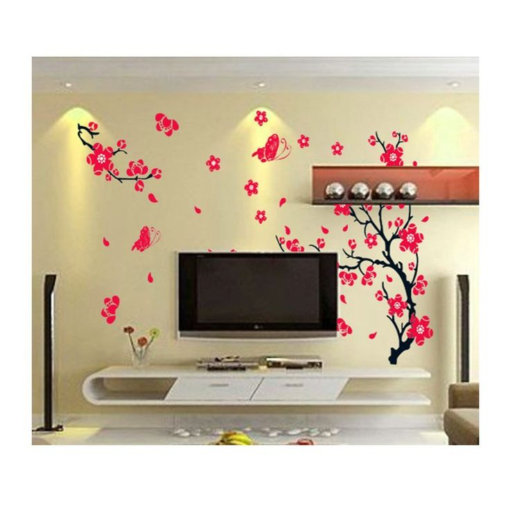 Stylish High Quality Adhesive Rooms Walls Vinyl DIY Stickers / Murals / Decals / Tattoos / Transfers With Red Japanese Cherry Blossoms Tree / Branch And Butterflies Designs By VAGA: Amazon.ca: Tools & Home Improvement
