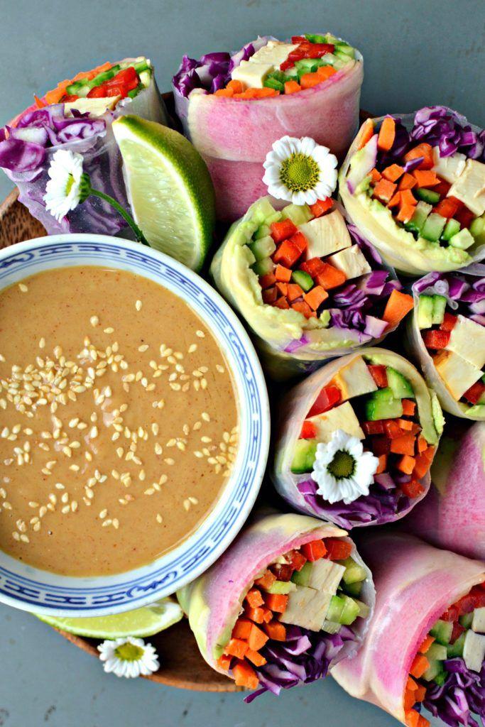 Rainbow Vegan Summer Rolls with Ginger Peanut Sauce   http://www.radiantrachels.com/rainbow-vegan-summer-rolls-ginger-peanut-sauce/