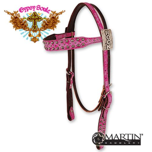 ROCK - Gypsy Soule by Martin Saddlery Distressed Pink with Dots Browband Headstall