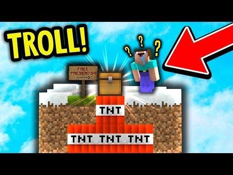 FAKE CHEST TNT TROLL! (Minecraft Skyblock Trolling