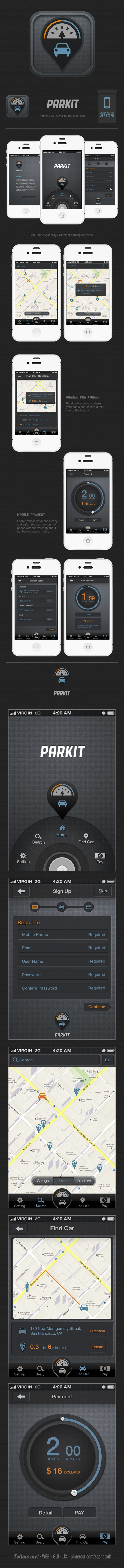 Parkit - iphone UX / UI design by Fei Chang  via Behance *** #iphone #app #gui #ui