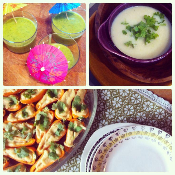 Healthy lunch... Groene smoothie, Chinese kool soep en gevulde mini paprikaatjes.