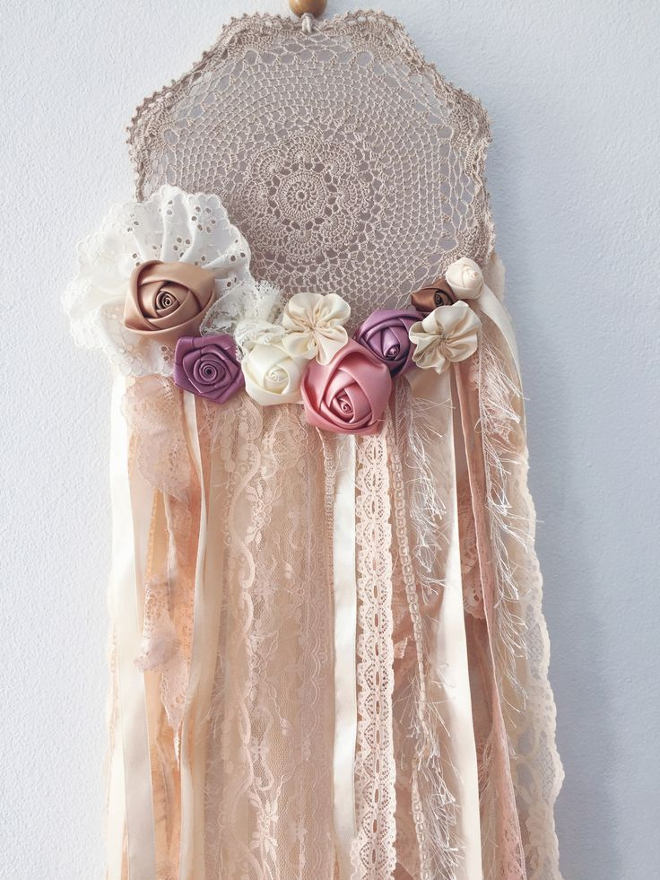Vintage inspired dream catcher with lace and ribbon rosettes by ivie and letty