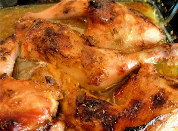 18th Century Drunken English Somerset Cider Chicken With Honey - Chicken, Hard Cider, Mustard, Salt, Pepper, Oil, Honey
