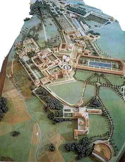 Reconstruction of the Villa Hadriana, Tivoli. The villa was constructed at Tibur (modern-day Tivoli) as a retreat from Rome for Roman Emperor Hadrian during the second and third decades of the 2nd century CE.
