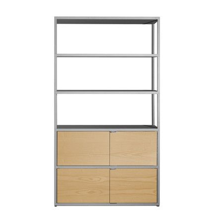 Hay - New Order Shelf, vertical, light grey, oak - single image