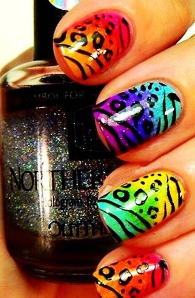 Zebra Print Nails Design,zebra-stripe nails for girls,Orange and Blue Zebra Print Nails Art for 2013 Fall/Winte #zebra #nails #christmas www.loveitsomuch.com