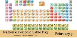 NATIONAL PERIODIC TABLE DAY National Periodic Table Day is observed annually on February 7. To understand the development of the periodic table, we first must understand the discovery of elements and their effect on science. Elements known to ancient man were few. Gold, silver, copper, iron, lead, tin, mercury, sulfur and carbon were the earliest known elements. These were all known prior to the 1st century A.D. Over time, arsenic, antimony, phosphorus and zinc were discovered. By 1809 there…
