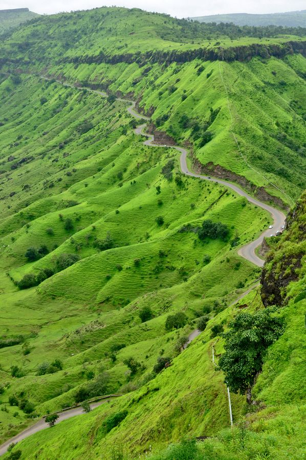 get your eflow on a winding road to go flow A lovely scenicget greenary around Sajjangad Fort in Satara, Maharashtra, #India