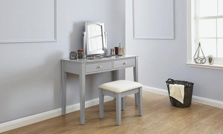 SEG107 Set gri - masă toaletă cu scăunel - http://www.emobili.ro/cumpara/seg107-set-masa-gri-toaleta-cosmetica-machiaj-oglinda-masuta-scaun-759 #eMobili