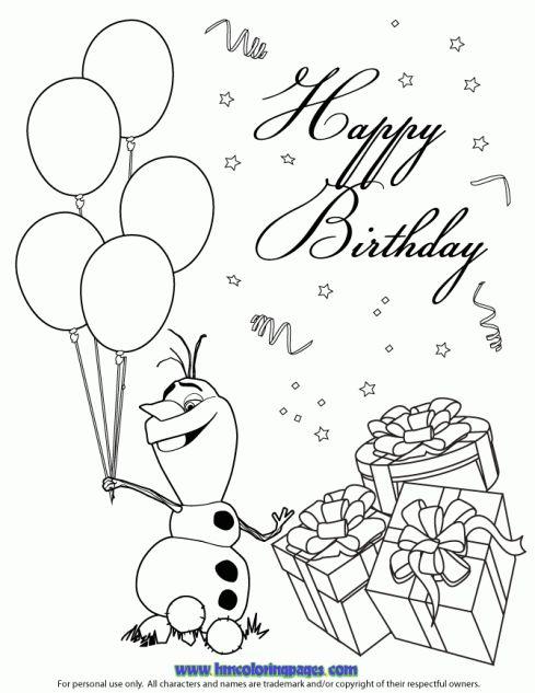 Happy Olaf Coloring Page   Disney Frozen Birthday Coloring ...