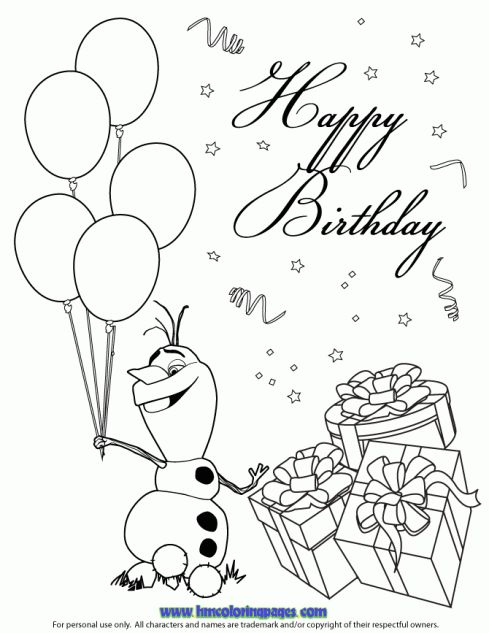 Printable Coloring Birthday Cards Pages To Print Warm