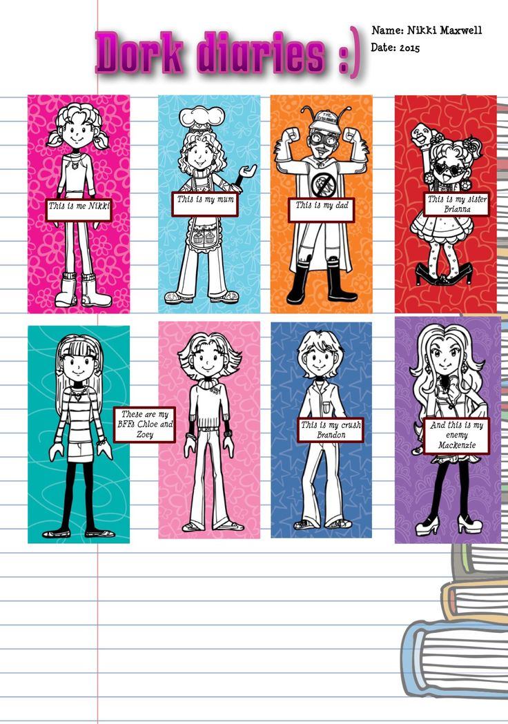Dork diaries characters my fav are Nikki she is so lovable and funny