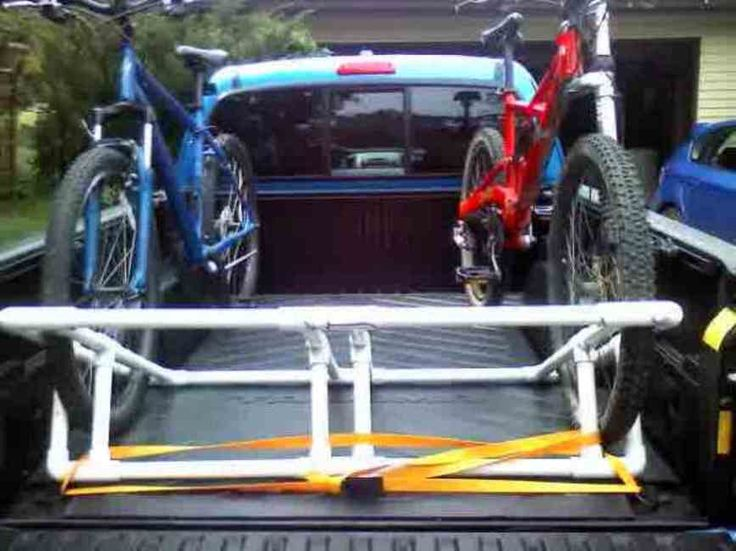 Truck bed homemade bike rack out of PVC