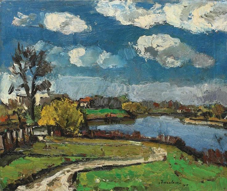 Peisaj cu nori albi by Ion Tuculescu
