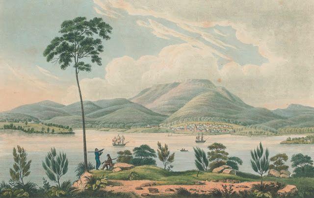 Distant View of Hobart Town, Van Dieman's Land [i.e. Van Diemen's Land] from Blufhead. [i.e. Bluff Head] 1825