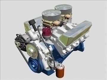 Ford 427 V8 Engine 3D Model-   Here is the legendary Ford 427 V8 engine, the famous FE side-oiler performance motor.  This one with the dual 4 barrel Holley carburetors, nicely detailed with many objects and most fastener heads, but no internal pieces.  Dimensionally correct within reason, but not an exact reproduction. - #3D_model #Automobile Parts