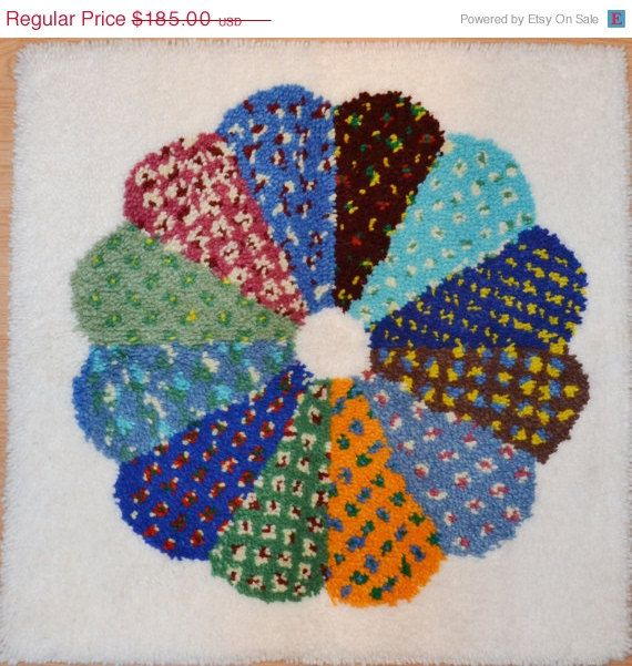 Vintage Latch Hook Rug L A R G E Latch Hook Rug Art Beautiful Color Wheel  Pattern On A White Background Wall Hanging Wall Art