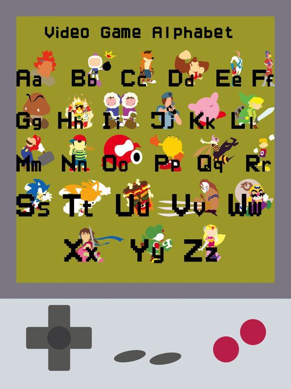 Video Game Alphabet  -I like how each character is bright and they all stand out. I like the use of block, bright colours and the images are simple. BTW...for the best game cheats, tips, check out: http://cheating-games.imobileappsys.com/