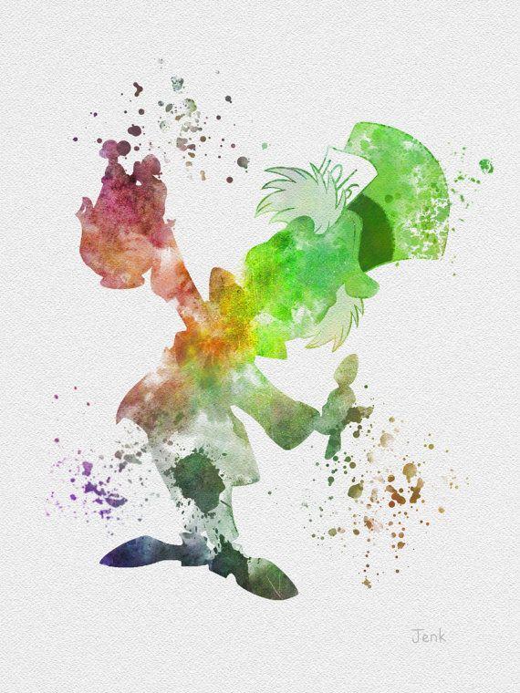 "Mad Hatter, Alice in Wonderland ART PRINT 10 x 8"" illustration, Disney, Fantasy, Mixed Media, Home Decor, Nursery, Kid"