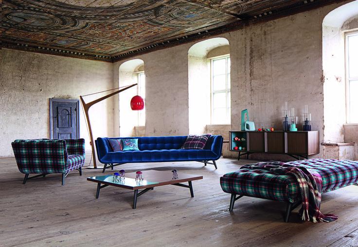 Roche Bobois Profile Sofa Upholstered In Cabaret Velvet