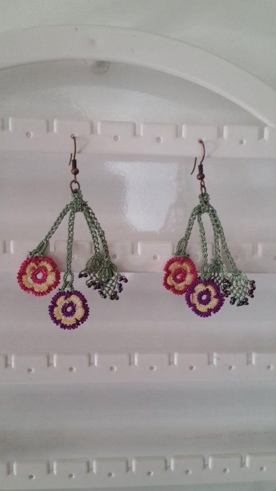 christmas gift bouquet earing Earings Handmade Crochet by EnjOOya