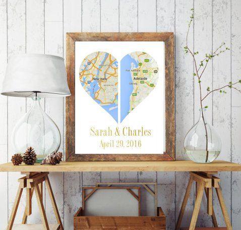 Mapa de corazón doble personalizado imprimible  Mapa de doble corazón - un compromiso personalizado o un regalo de boda con los mapas de dos ciudades con nombre y fechas incluidas.  Este es un fichero digital para descargar e imprimir pero si desea una cotización para la impresión y envío, por favor contácteme.  CÓMO HACER UN PEDIDO:  La lista de la compra y en la nota al cuadro de vendedor en la comprobación, incluya las ciudades que usted como y en que orden y los nombres y fecha para ser…