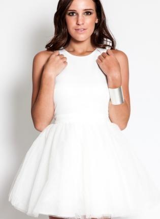 White Sleeveless Mini Tutu Dress with High Neckline,  Dress, tutu dress  sleeveless  mini dress, Chic