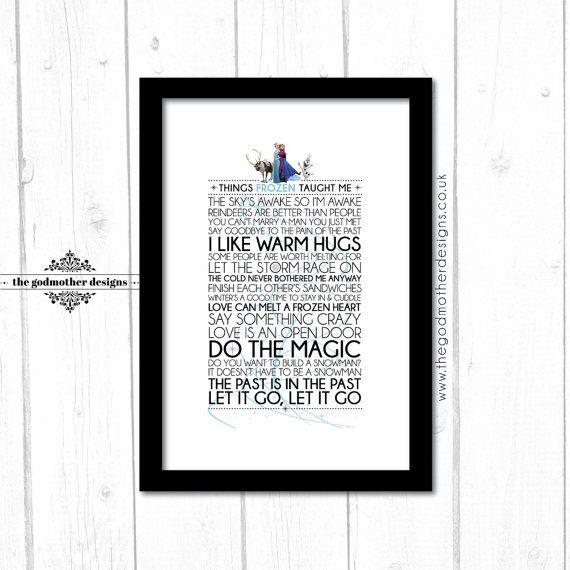 Frozen Disney Typography Print Quotes & by TheGodmotherDesigns