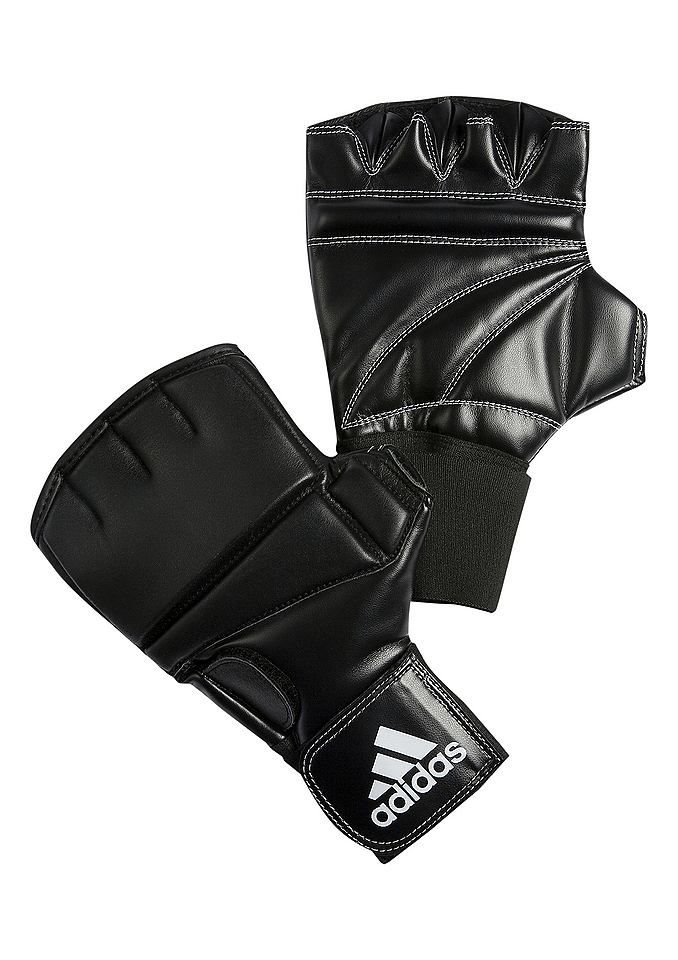 Punch-Handschuhe, Adidas Performance, »SPEED«, in 2 Größen lieferbar.  Punch-Handschuh. Außenhand aus Kalbsleder, Innenhandbereich aus Kunstleder. Mit innovativen 8 mm Geleinlagen zum Schutz der Fingergelenke und 6 cm breitem Elastikgurt inkl. Einstiegshilfe für einfaches An- und Ausziehen.   Größe 1: S/M  Größe 2: L/XL...