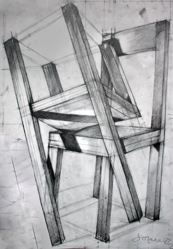 Chairs, pencil drawing 70x100 by ~SoniaSh on deviantART