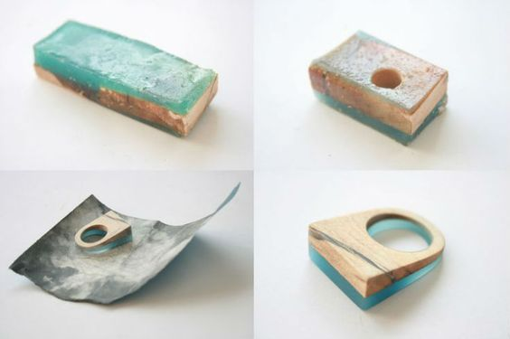 Resin and wood jewelry. Bague en bois et résine.  Ring in hars en hout. Resina anillos.