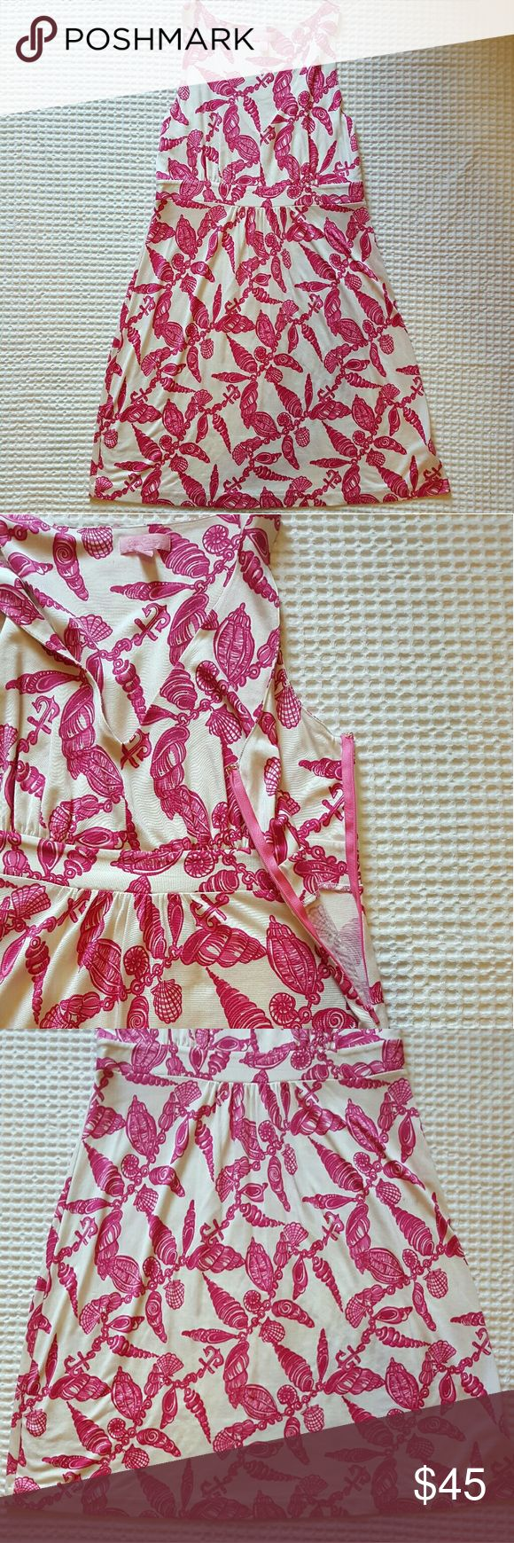 Lilly Pulitzer Pink and White Dress Size Large Large Conch Shell Pattern/Falling in Love. V neck. Dress is approximately 36 inches long. 73% Silk 27% Cotton Lilly Pulitzer Dresses