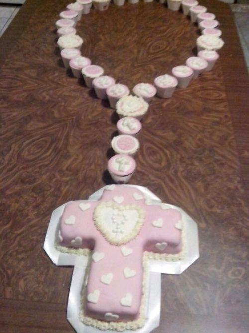 pastel primera comunion con forma de cruz