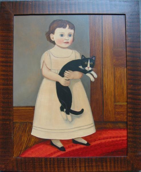 Chica de blanco con gato blanco y negro | Pintura de arte popular estadounidense – Diane Ulmer …