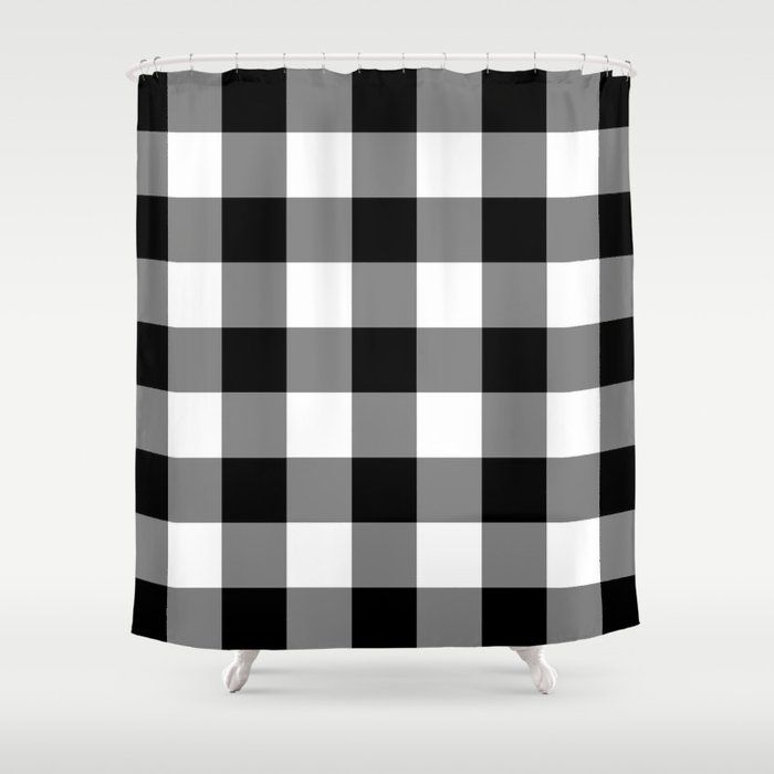 Buy Black And White Buffalo Plaid Shower Curtain By Suttonplacedesigns Worldwide Shipping Plaid Shower Curtain Black White Shower Curtain White Shower Curtain