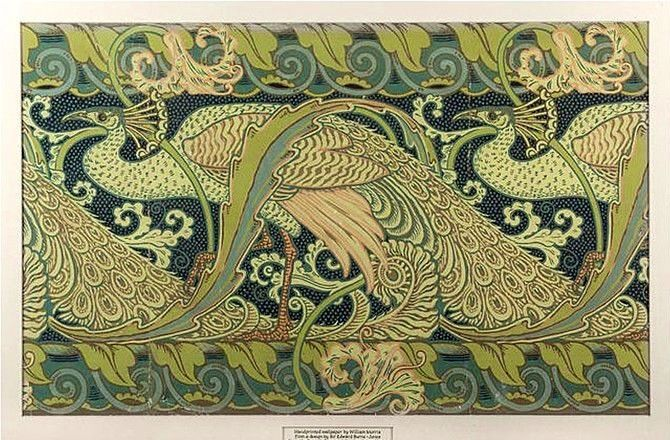 walter crane replica peacock wallpaper border plaque arts