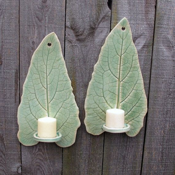 Handbuilt Tall Leaf Clay/Pottery Wall Hanging Candle Sconces/ Holders in Light Green Celadon, set of 2
