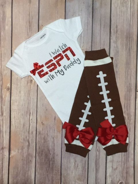 Baby Girl I Watch ESPN with My Daddy Outfit   by KraftsbyKuties