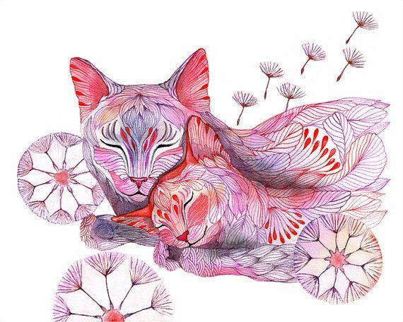 Pissenlit somnolent félins art du monde animal imprimé par TevaKiwi