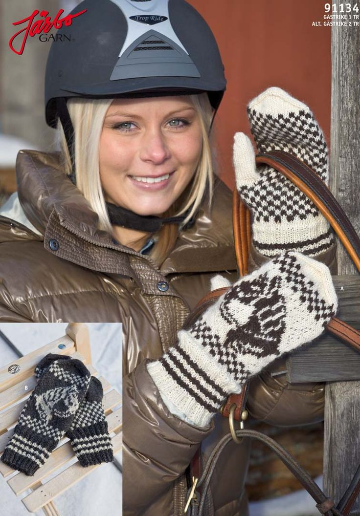 Knitted gloves for horse lovers.