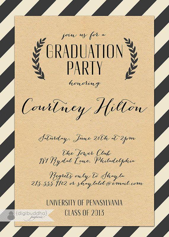 Kraft Graduation Invitation Whimsical Script Black & Off White Striped Modern Ceremony Celebration Printable or Printed - Courtney Style