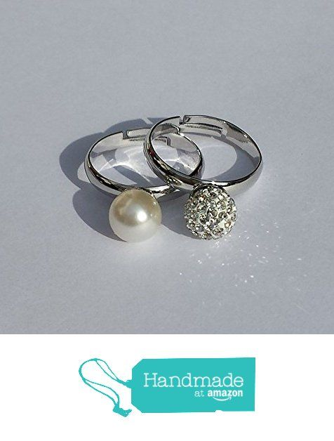White Pearl and pavé crystals Pearl Pair of Rings from Barbara Creations https://www.amazon.co.uk/dp/B06XCCKNS8/ref=hnd_sw_r_pi_dp_NhRizbJK5261F #handmadeatamazon